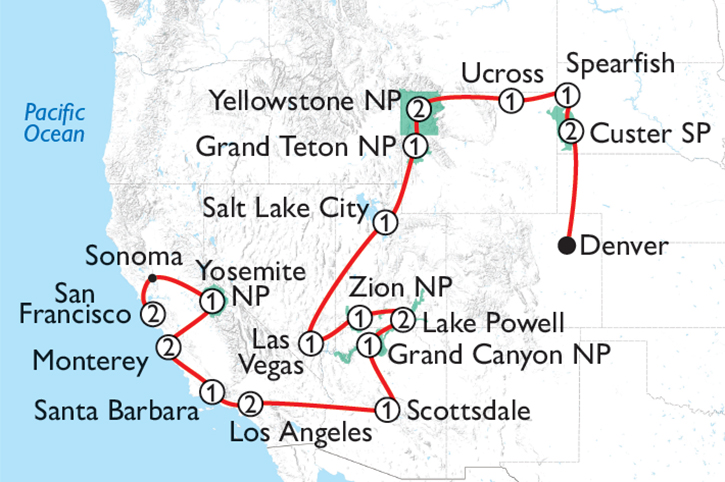 Grand Tour of America's West Map