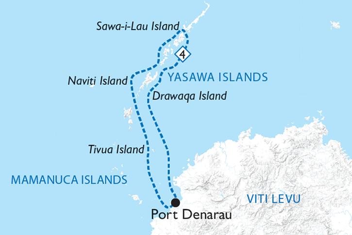 4 Night Fiji Yasawa Islands Cruise Map