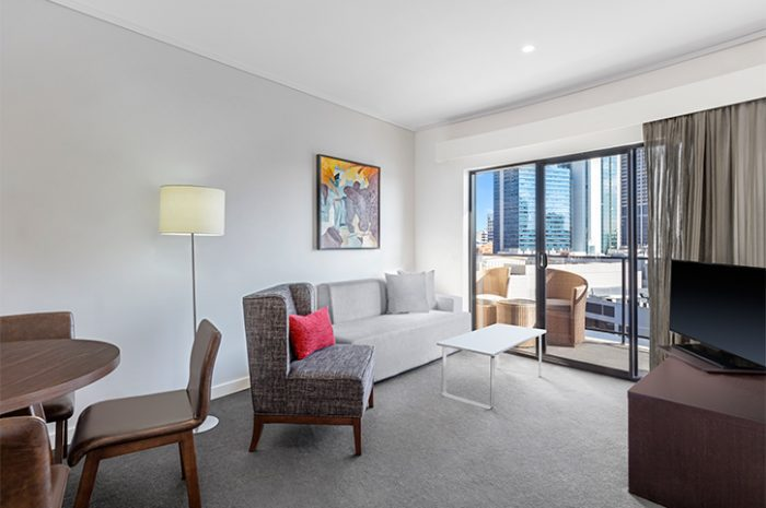 Adina Barrack Plaza One Bedroom Apartment Living