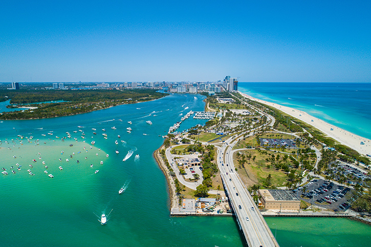 Aerial view Miami Beach, Florida, South USA