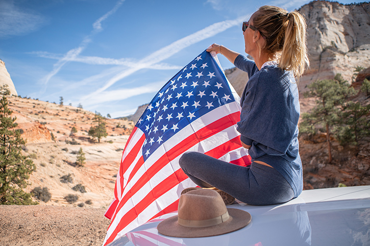 Traveller with Flag, America
