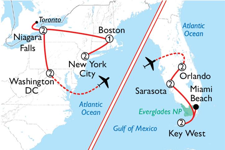 America's East Coast Map