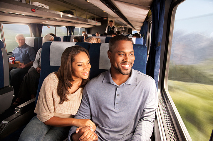 Couple, Amtrak, USA