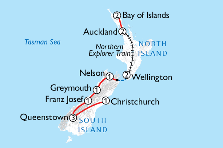 Auckland & the South Map