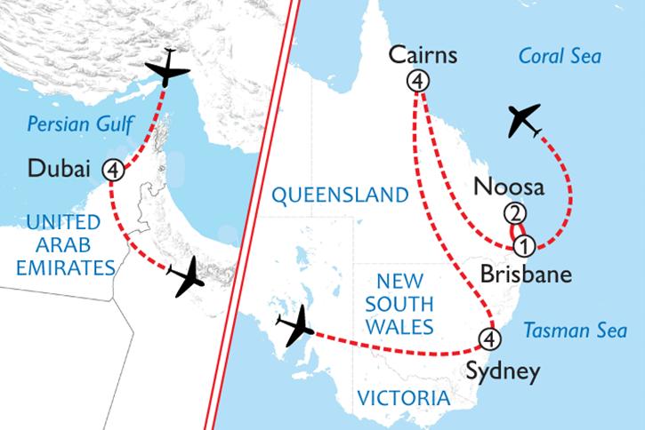 Australia & Dubai Map