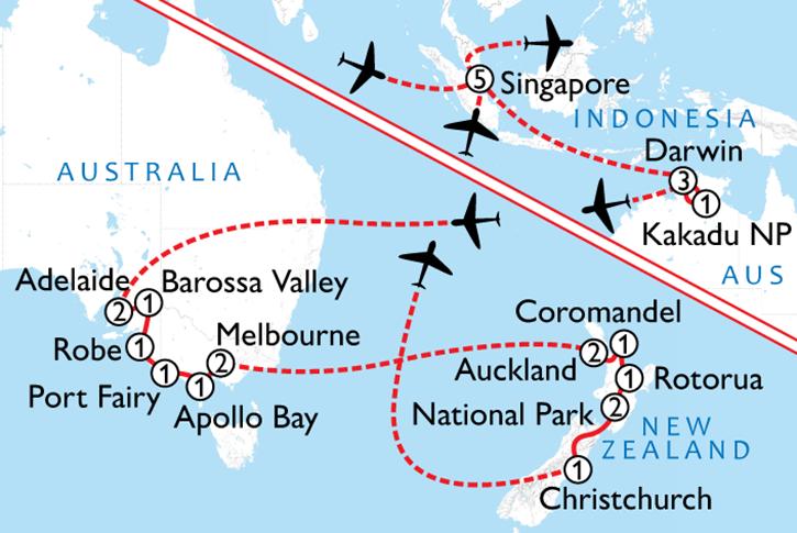 Australia New Zealand & Singapore Map