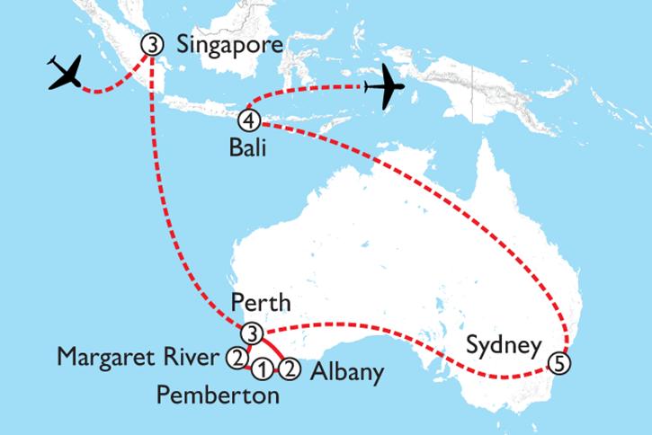 Australia Singapore Bali Map