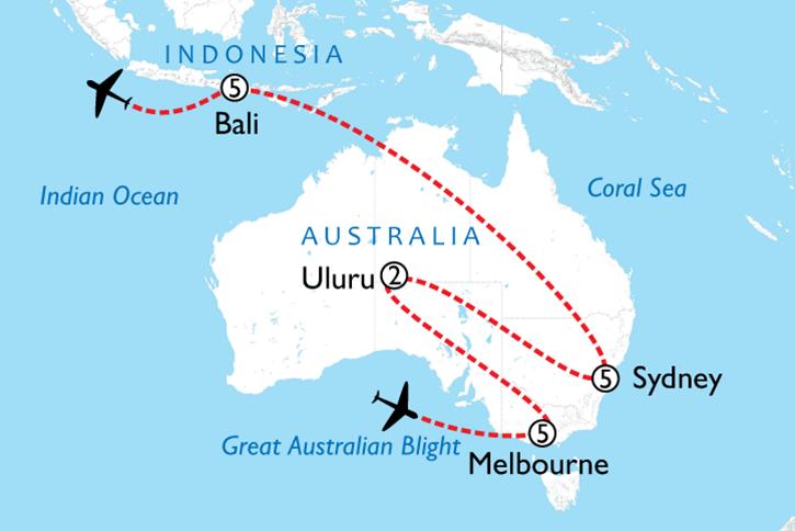 Australia & Bali Map