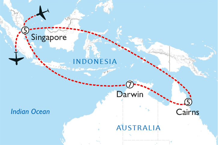 Australia & Singapore Map
