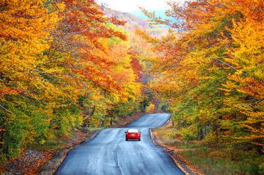 Driving in the White Mountains of New Hampshire