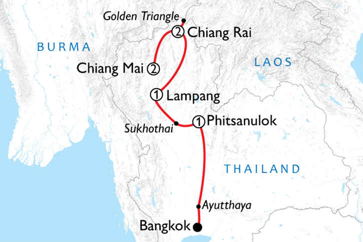 Bangkok to Chiang Mai Adventure Map