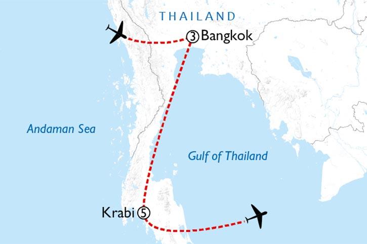 Bangkok And Krabi Romance Map