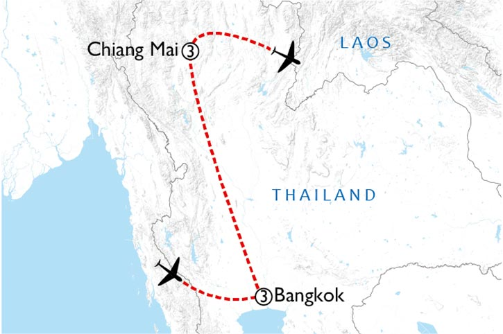Bangkok And Traditional Thailand Map