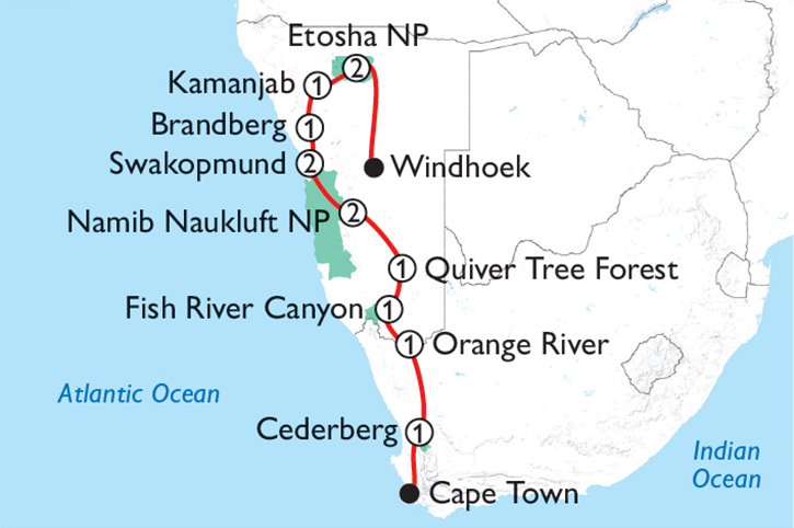 Best of Namibia Map
