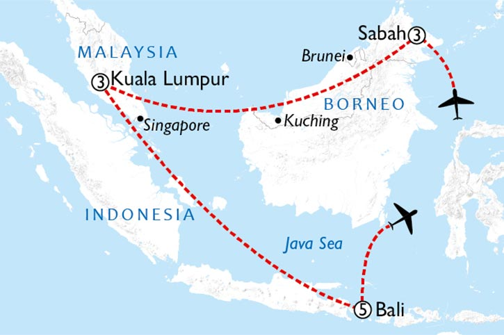 Borneo And Bali Map