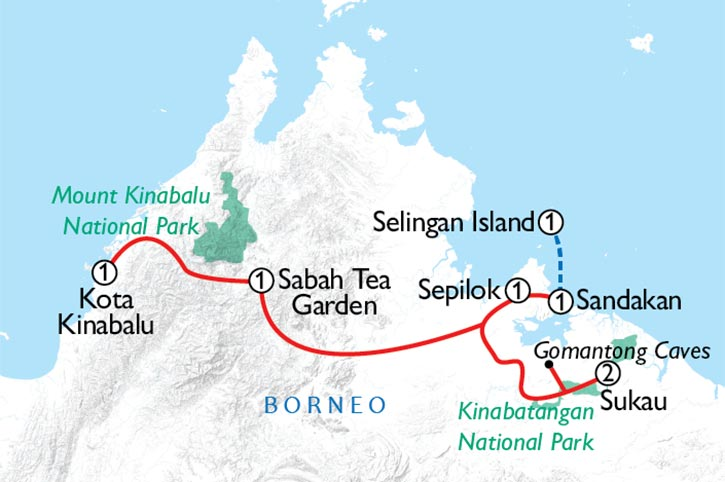 Borneo Highlights Map