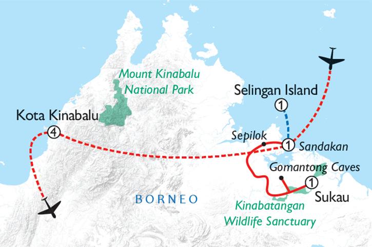Borneo Wildlife & Beaches Map