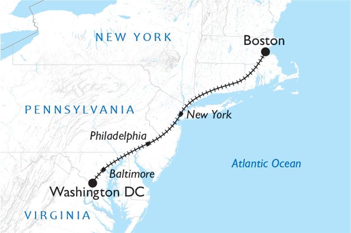 Boston to Washington DC Map