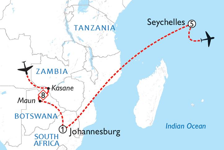 Botswana & Seychelles Map