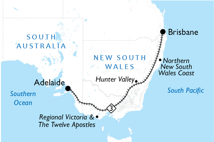 Brisbane to Adelaide Map