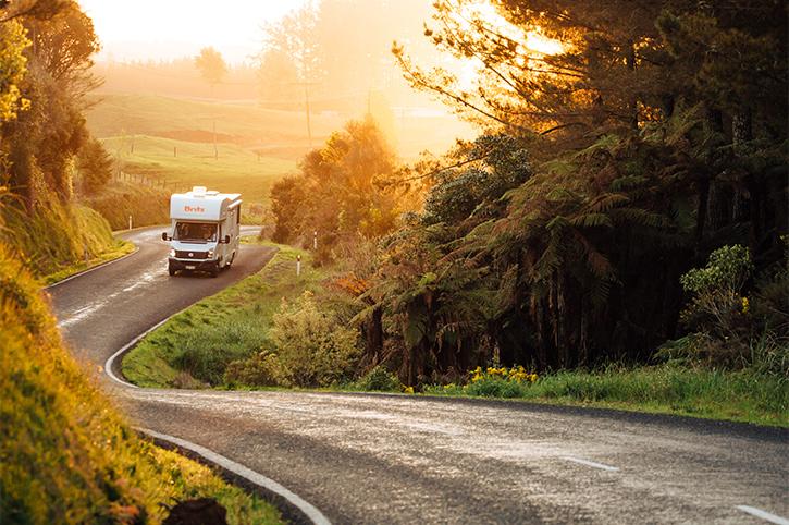 Britz 4 Berth Driving Along Road