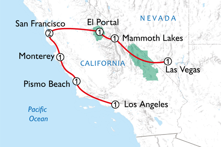 California Coast & National Parks Map