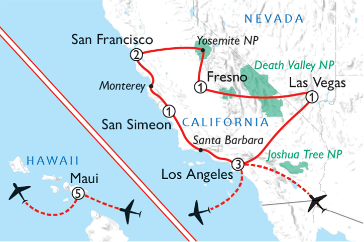 California & Hawaii Map
