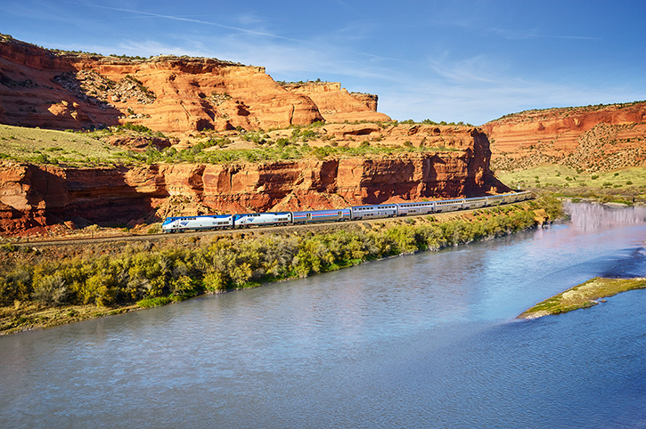 California Zephyr desert valley by river