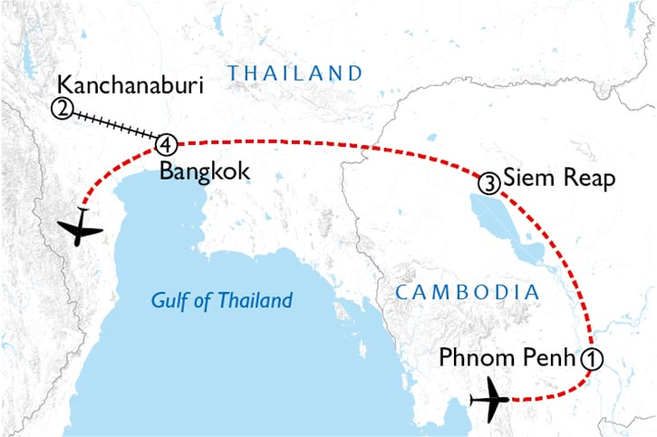 Cambodia And Thailand Highlights Map