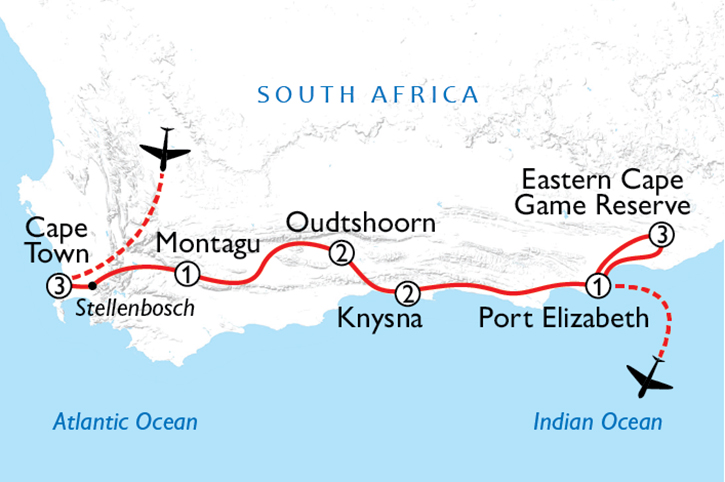 Cape Town, Garden Route & Game Map