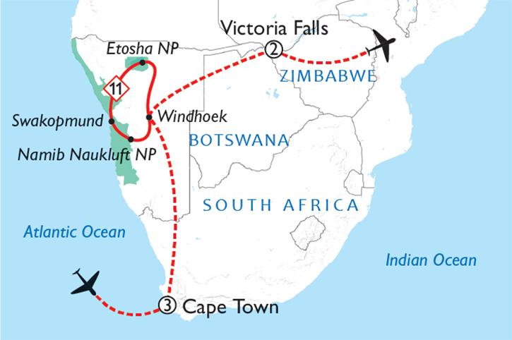 Cape Town Namibia & Victoria Falls Map