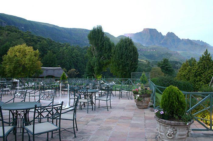 Champagne Castle Hotel Patio Views