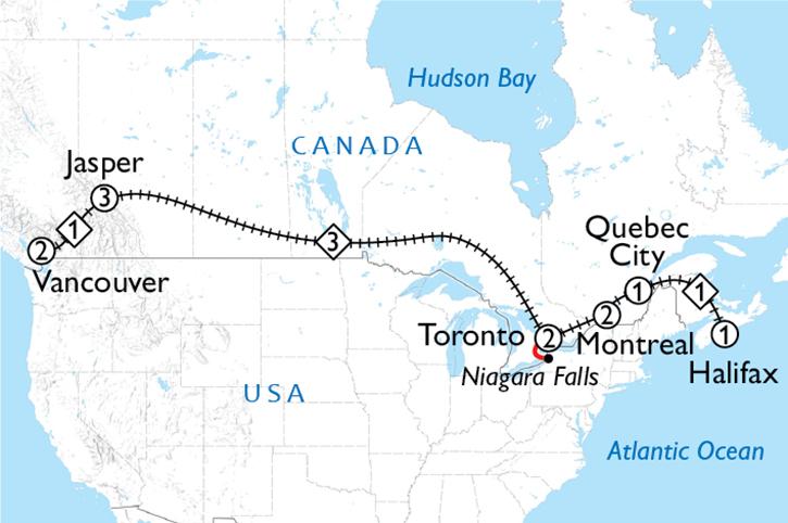 Classic Canada Coast to Coast Map