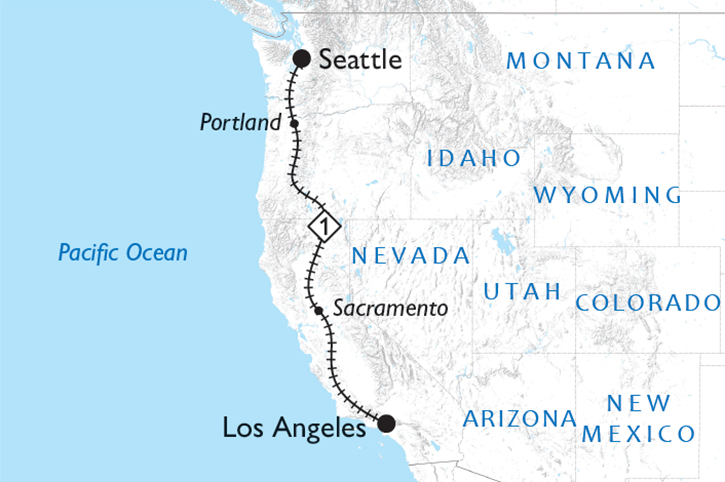 Coast Starlight Map