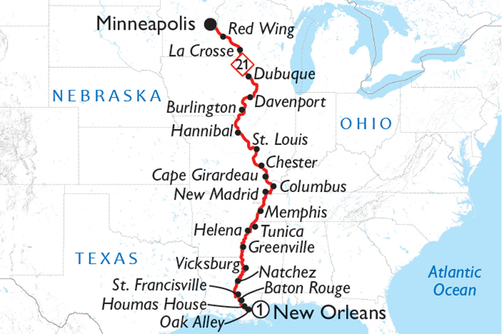 Complete Mississippi Cruise Map