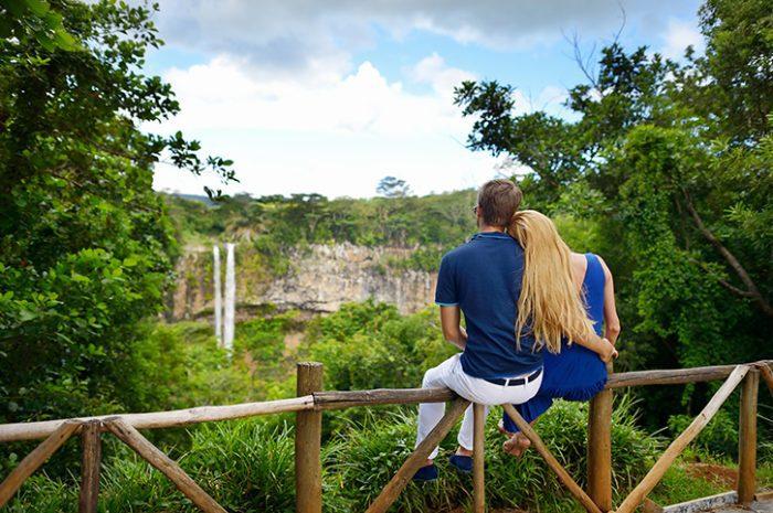 Couple at Chamarel Falls