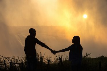 Couple at Victoria Falls, Zimbabwe, Africa