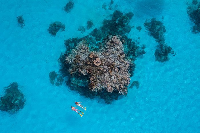 Couple snorkelling in the Cook Islands