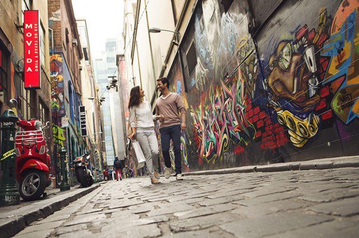 Couple Walking Down Melbourne's Laneways