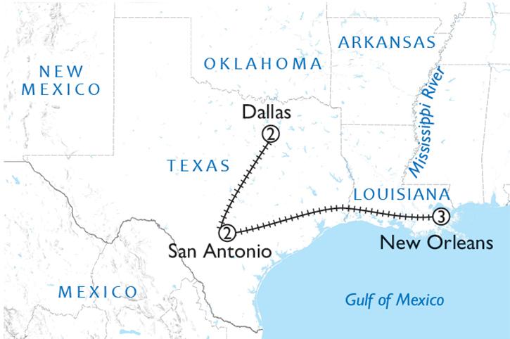 Cowboys & Cajuns Rail Map