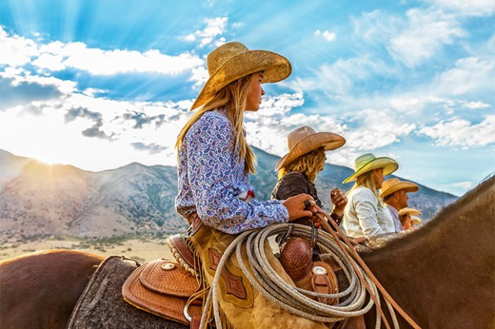 Cowgirls and Cowboy at Ranch