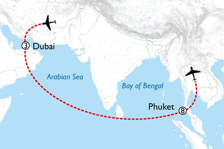 Dubai & Phuket Map