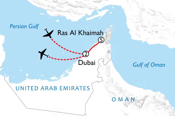 Dubai & Ras Al Khaimah Map