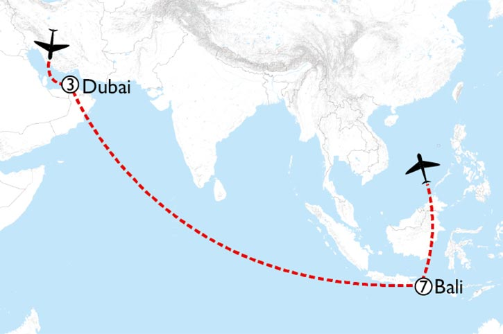 Dubai And Bali Map