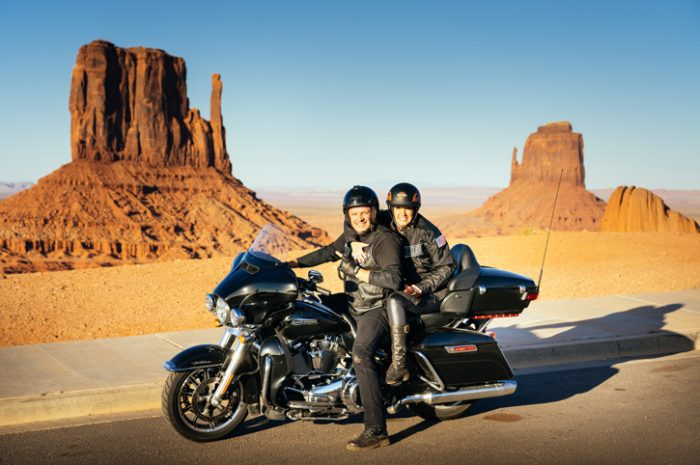 Motorcyclists at Monument Valley