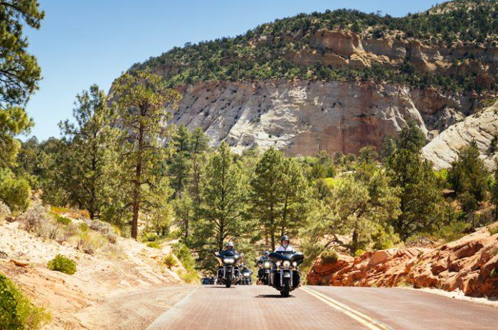 Riding through Zion National Park