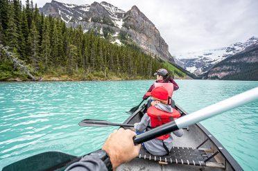Family Kayaking on Lake Louise, Banff National Park