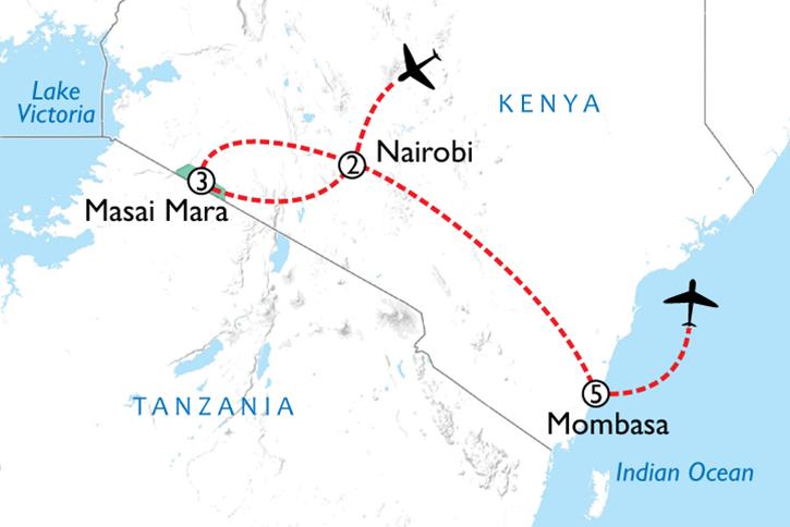 Giraffe Manor, Masai Mara & Beach Map