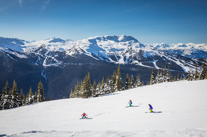 Group skiing in Whistler