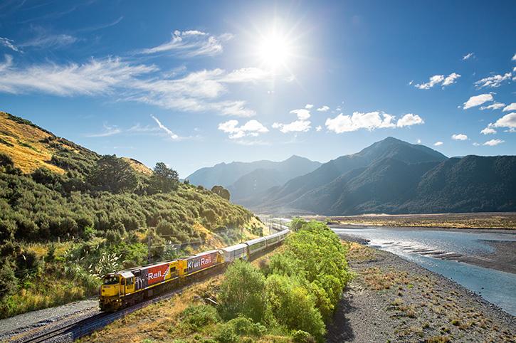 TranzAlpine alongside Waimakariri River